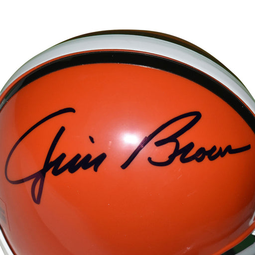 Jim Brown Signed Cleveland Browns Mini Replica Orange Football Helmet (JSA)