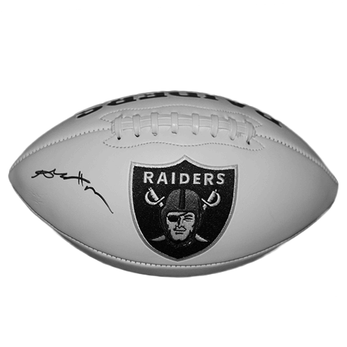 Antonio Brown Autographed Oakland Raiders Full Size Logo Football White (JSA)