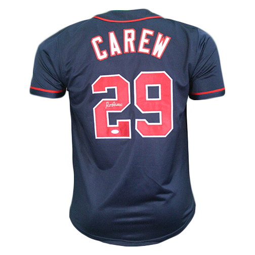 Rod Carew Autographed Minnesota Throwback Navy Baseball Jersey (JSA)