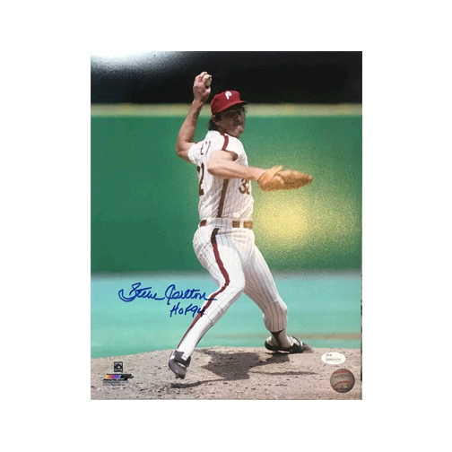 Steve Carlton Autographed Phillies Baseball 11 x 14 Photo JSA Authenticated HOF Inscription Included