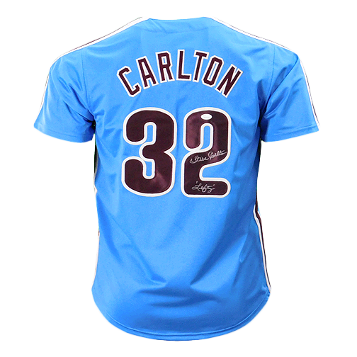 Steve Carlton Signed Lefty Inscription Blue Philadelphia Jersey (JSA)