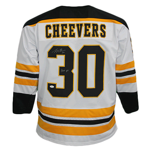 Gerry Cheevers Boston Autographed Hockey Jersey White (JSA COA) HOF Inscription Included