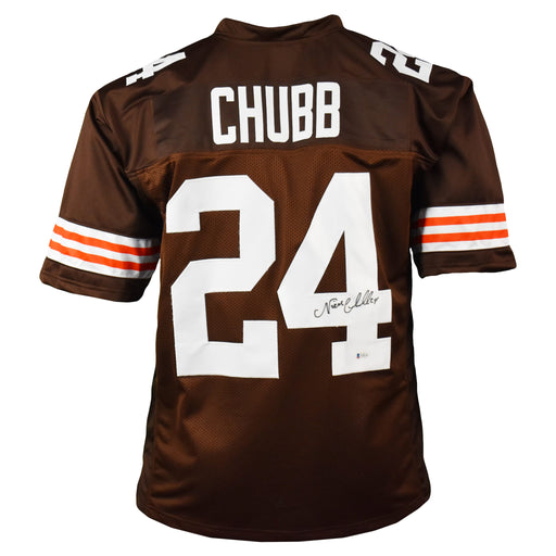 Nick Chubb Signed Pro-Edition Brown Football Jersey (Beckett)