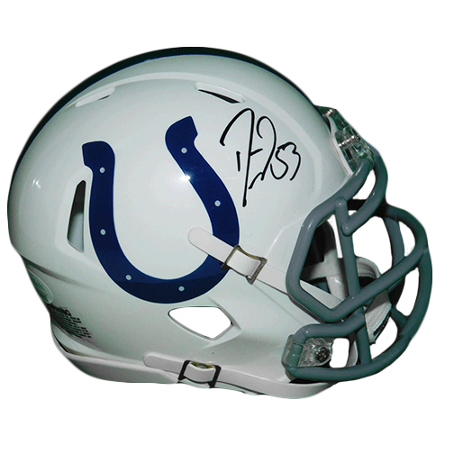 Darius Leonard Autographed Indianapolis Colts White Speed Football Mini Helmet JSA COA!