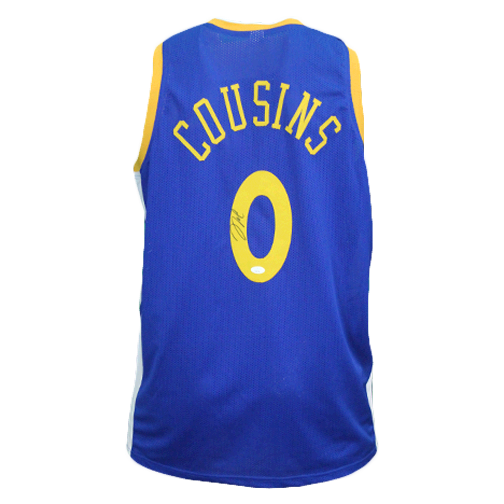 "DeMarcus Cousins Autographed ""The Bay"" Basketball Jersey Blue (JSA)"