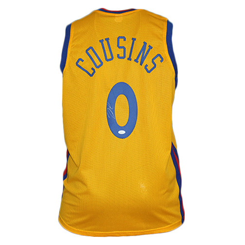 "DeMarcus Cousins Autographed ""The Bay"" Basketball Jersey Yellow (JSA)"