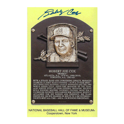 Bobby Cox Autographed Hall of Fame Plaque Postcard (JSA)