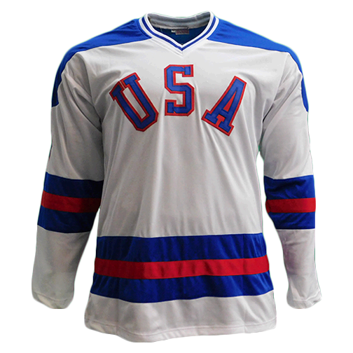 Jim Craig Team USA Autographed Hockey Jersey white (JSA COA)