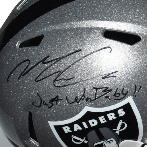 Maxx Crosby Signed Just Win Baby Inscription Las Vegas Raiders Speed Full-Size Replica Silver Football Helmet (JSA)