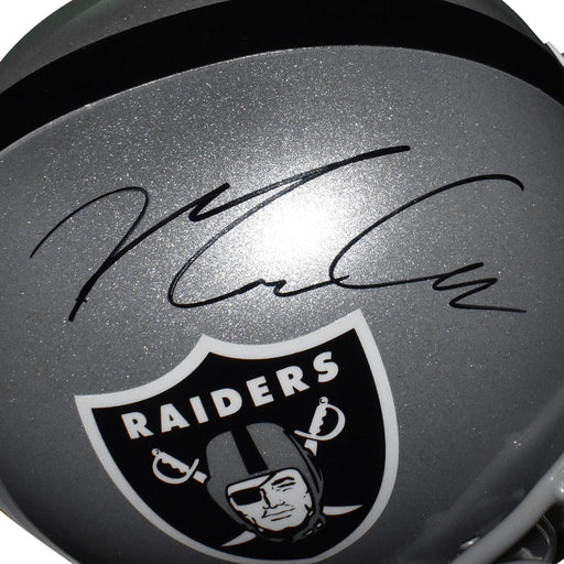 Maxx Crosby Signed Las Vegas Raiders Full-Size Replica Silver Football Helmet (JSA)