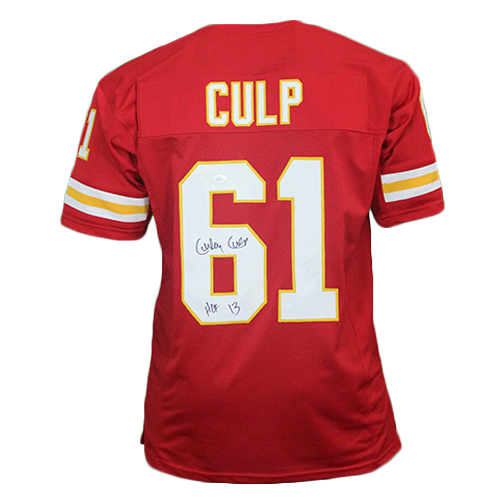 Curly Culp Autographed Pro Style Football Jersey Red (JSA) HOF 13