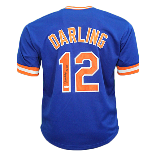 Ron Darling Autographed Throwback Pro Style Baseball Jersey Blue (JSA COA)