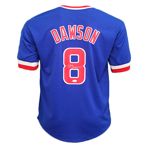 Andre Dawson Autographed Special Throwback Chicago Pro Style Baseball Jersey Blue (JSA COA)