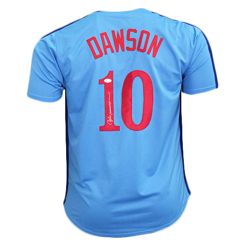 Andre Dawson Autographed Special Throwback Pro Style Baseball Jersey Light Blue (JSA)