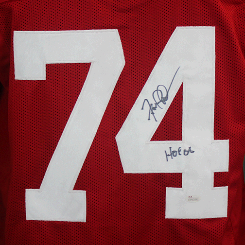 Fred Dean San Francisco 49ers Autographed Football Jersey Red (JSA) HOF Inscription Included