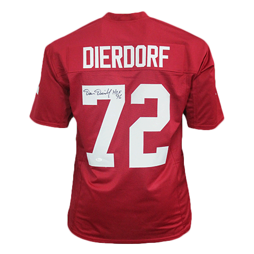 Dan Dierdorf Cardinals Autographed Football Jersey Red (JSA) HOF Inscription Included