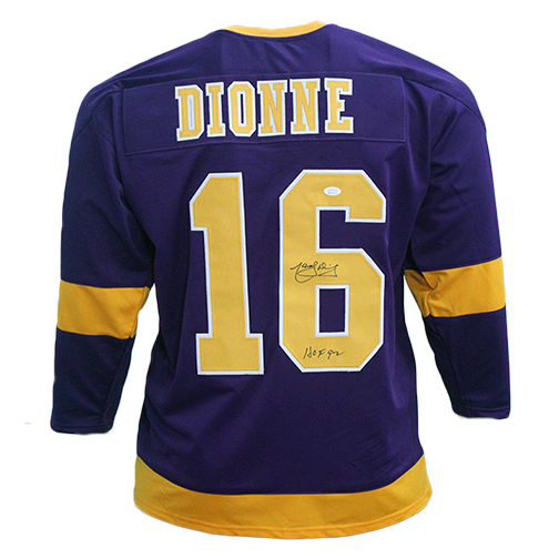 Marcel Dionne Los Angeles Autographed Pro Style Hockey Jersey Purple JSA COA HOF Inscription Included