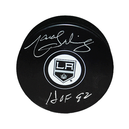 Marcel Dionne Signed HOF '92 LA Kings Small Logo Silver Signature Hockey Puck (JSA)