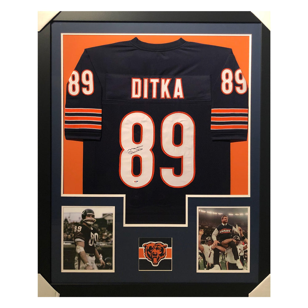 ditka bears blue autographed framed football jersey