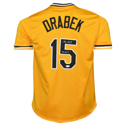 Doug Drabek Signed 90 NL CY Inscription Pittsburgh Yellow Baseball Jersey (JSA)