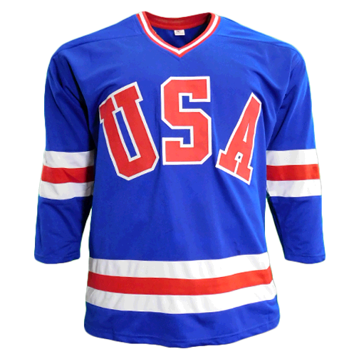 Mike Eruzione Autographed Team USA Olympic Jersey Blue (JSA)