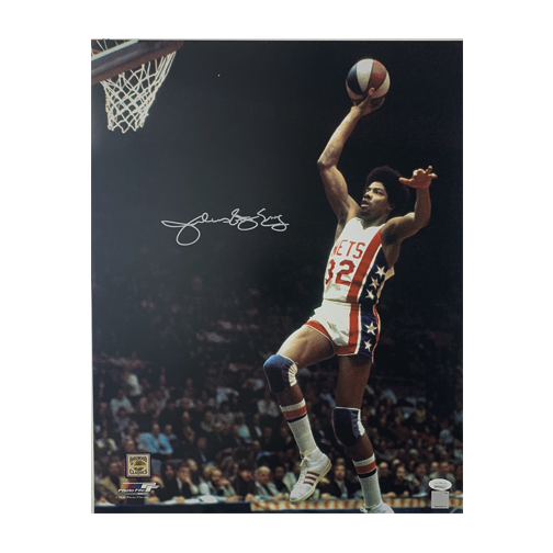 "Julius Erving ""Dr. J"" Autographed 16 x 20 Nets Basketball Photo (JSA COA)"