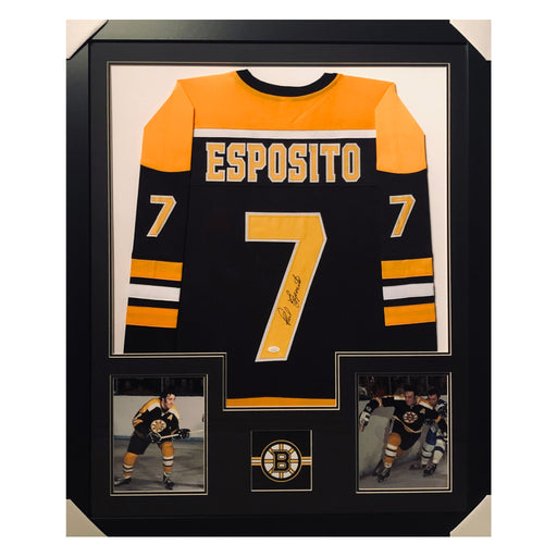 esposito bruins black autographed framed hockey jersey