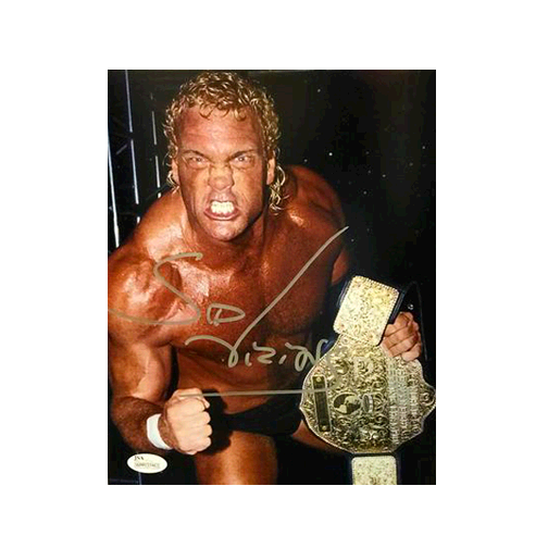 Sid Vicious Pro Wrestling Autographed 8 x 10 Photo With Championship Belt (JSA COA)