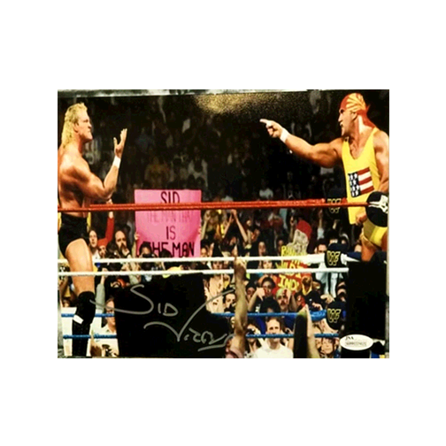 Sid Vicious Pro Wrestling Autographed 8 x 10 Photo vs. Hulk Hogan (JSA COA)