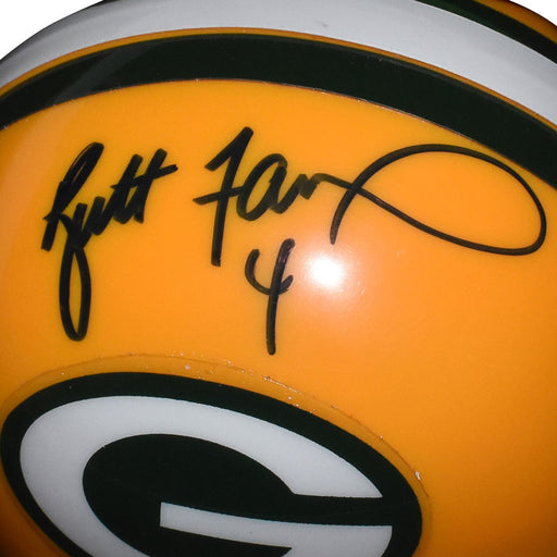 Brett Favre Signed Green Bay Packers Mini Replica Yellow Football Helmet (JSA)