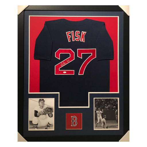 fisk red sox blue autographed framed baseball jersey