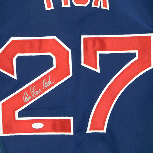 Carlton Fisk Signed Boston Pro Style Navy Baseball Jersey (JSA)