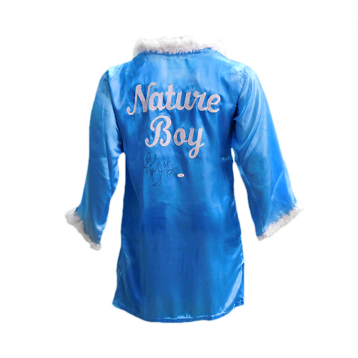 Ric Flair Autographed Blue Pro Wrestling Nature Boy Robe (JSA COA) 16x Inscription Included!