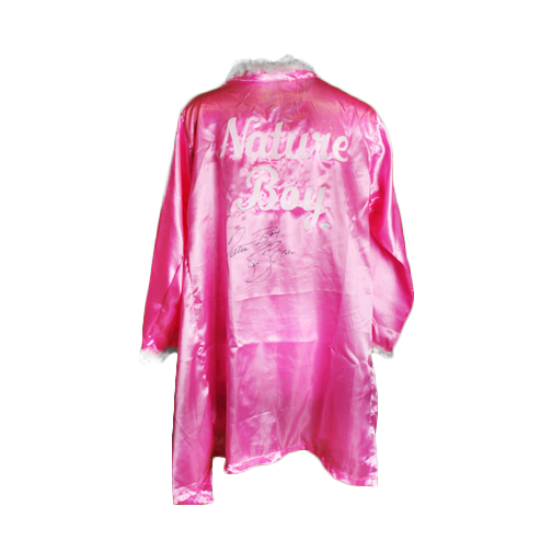 Ric Flair Autographed Pink Pro Wrestling Nature Boy Robe (JSA) 16X Inscription Included!