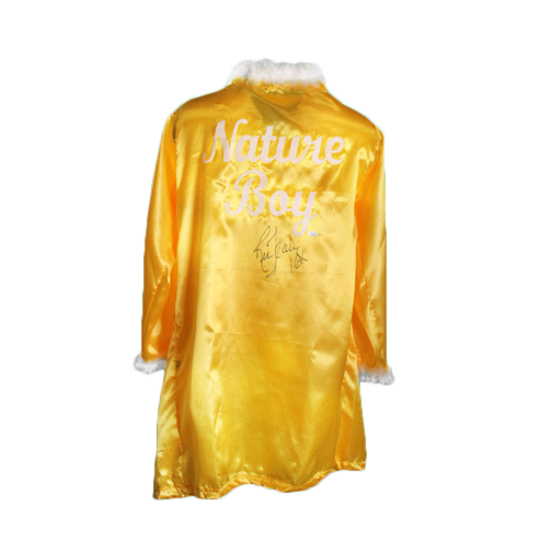 Ric Flair Autographed Yellow Pro Wrestling Nature Boy Robe (JSA COA) 16x Inscription Included! MISC