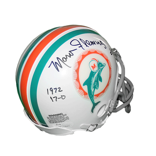 Marv Fleming Miami Dolphins Autographed Football Mini Helmet (JSA) Special 17 - 0 1972 Inscription