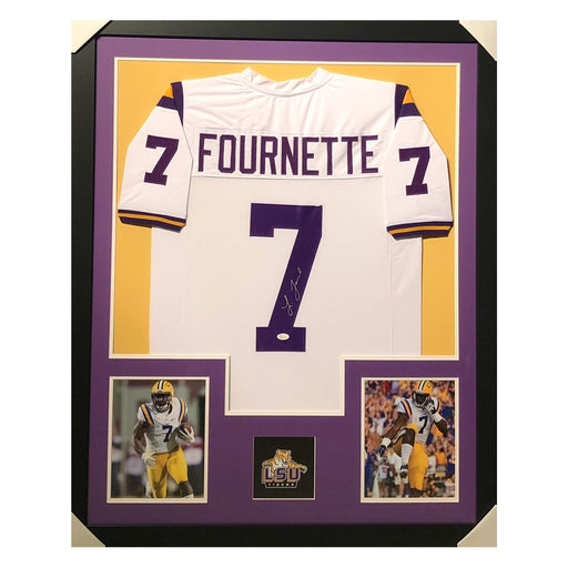 fournette tigers white autographed framed football jersey