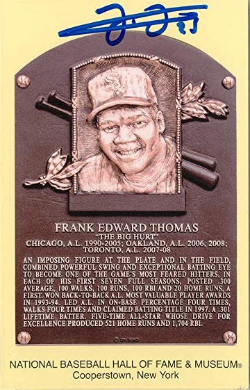 FRANK THOMAS AUTOGRAPHED BASEBALL HALL OF FAME POSTCARD (JSA)