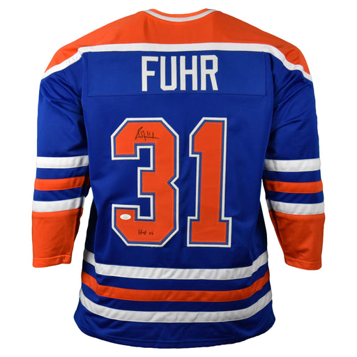 Grant Fuhr Signed Blue Hockey Jersey HOF 03 Inscription (JSA)