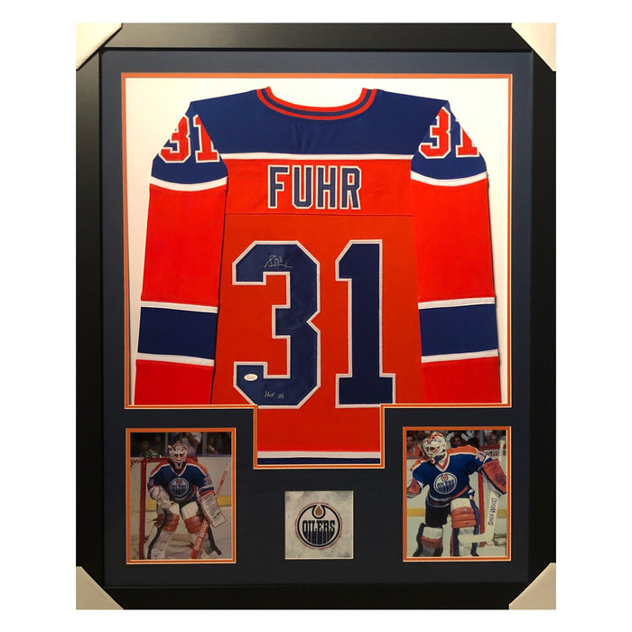 fuhr oilers hof 03 orange autographed framed hockey jersey