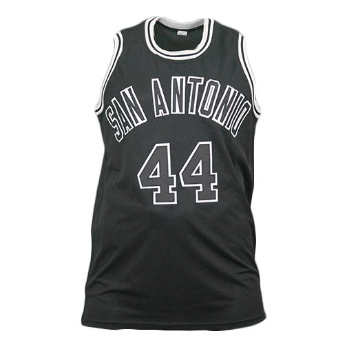 "George Gervin Pro Style Autographed Basketball Jersey Black (JSA) ""Ice Man"" Inscription Included"