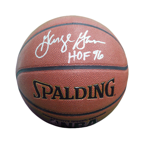 George Gervin Signed HOF '96 Inscription Spalding NBA Basketball (JSA)