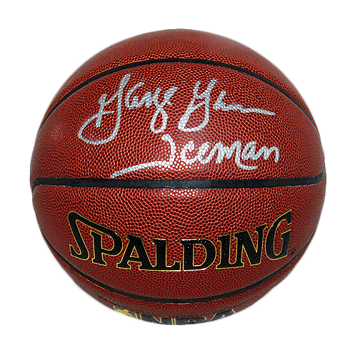 George Gervin Signed Iceman Inscription Spalding NBA Basketball (JSA)