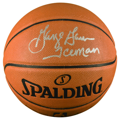 George Gervin Signed Iceman Inscription Spalding NBA Game Series Basketball (JSA)