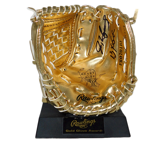 Ivan Rodriguez Autographed Mini Gold Rawlings Baseball Glove 13 GG Inscription (JSA)