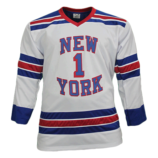 Eddie Giacomin Autographed Pro Style New York Hockey Jersey White (JSA COA) HOF Inscription Included