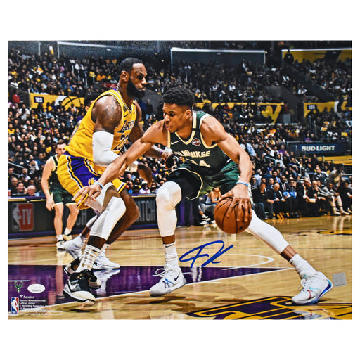 Giannis Antetokounmpo Vs. Lebron James Autographed Milwaukee Bucks 16x20 Photo (JSA)