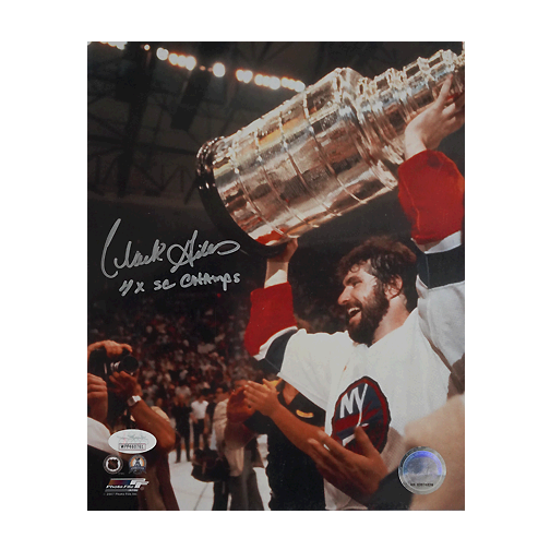 Clark Gillies Signed 4x SC Champions New York Islanders 8x10 Photo (JSA)