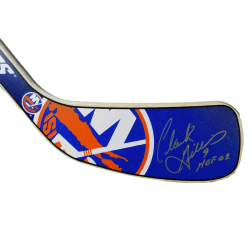 Clark Gillies HOF02 Inscription NY Islanders Mini Hockey Stick (JSA)