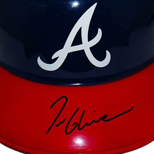 Tom Glavine Autographed Atlanta Braves Baseball Souvenir Batting Helmet Full Size Blue (JSA COA)